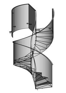 03-2019 Wendeltreppe mit Faltwerkstufen und geländerhohen Wangen sowie unterseitiger Blechverkleidung