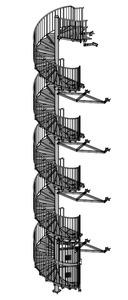 08-2017 Fluchtspindeltreppe mit Verankerung durch Fachwerkkonsolen,  Zutrittssicherung durch Schutzgitter + Tür mit Panikfunktion