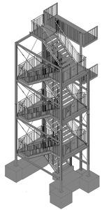 05-2016 Fluchttreppenturm vor Balkonanlage, fvz, Gitterroststufen MW 30x30, Schutzgitter mit Tür