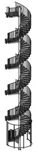 09-2017 Spindeltreppe mit 4 Podeste, am Antritt mit Schutzgitter-Einhausung und Gittertür