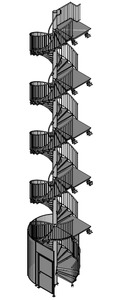Fluchtspindeltreppe mit Zugangssicherung  durch Schutzgitter mit Tür