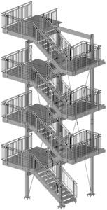 Fluchttreppe mit Blechprofilroste, Geländer mit Edelstahl-Handlauf
